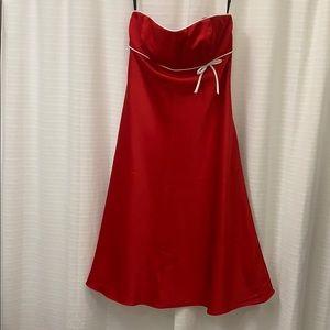 Cherry red strapless formal dress